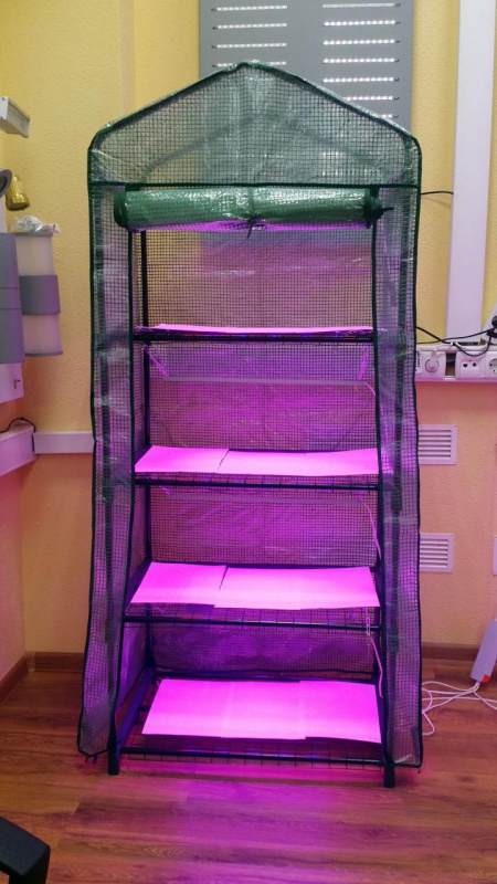 стеллаж для выращивания рассады с подсветкой разборный
